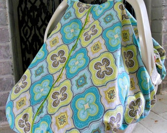 Cool 100% Cotton Baby Car Seat Canopy Cover /GrayAqua/Lime Green Medallion (fitted), FREE MONOGRAMMING