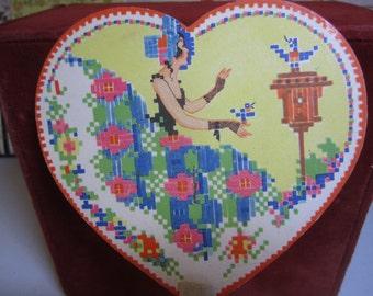 1920's  P.F. Volland unused art deco die cut heart shaped bridge tally fan colorful bonnet crinoline girl  needlepoint look