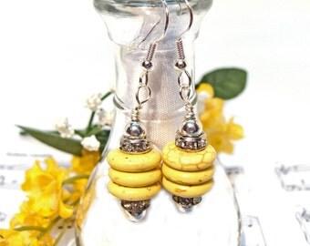 Yellow Howlite Turquoise Rondelle Earrings with Rhinestones