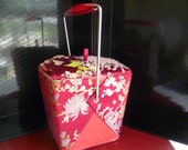 Yans NY Chinese Take Out Box Purse Burgundy Brocade & Velvet Pink Satin Lined