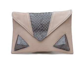 Leather Clutch in Light Sandy Beige with Snakeskin detailing