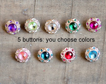 Vintage Rhinestone Buttons - Set of 5 - Plastic Acrylic 18mm Rhinestone Buttons - Plastic Rhinestone Buttons - Wholesale Buttons