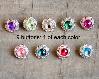 Vintage Rhinestone Buttons - Set of 9 - Plastic Acrylic 18mm Rhinestone Buttons - Plastic Rhinestone Buttons - 1 of Each Color