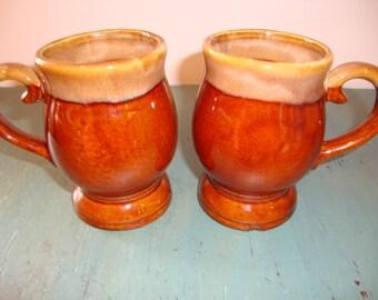 Vintrage Brown Ceramic Mugs, Glazed, Taiwan, Set of 2