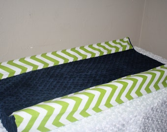 Deluxe Lime Chevron and Minky Contour Changing Pad Cover
