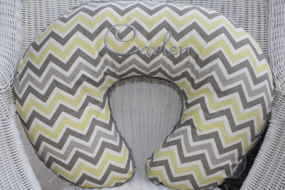 Nursing Pillow Cover - Yellow, Gray and White Chevron with Gray Minky Boppy Cover - Ready to Ship