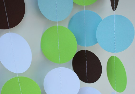 Boy Birthday Decorations Paper Garland Party Decor light blue