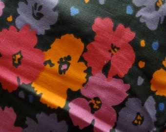 Stylish Colorful Floral Fabric - Coral, Orange, Blue, Pink Flowers on Black Background - 1.5 yards
