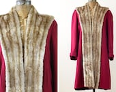 1940s Coat / 40s Princess Coat / Fur Coat // Going My Way Coat