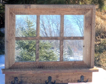 Custom Made Barnwood Framed Mirror with 6 panes