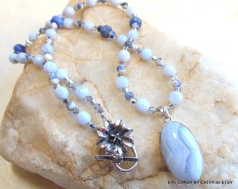 Blue and silver necklace, blue lace agate pendant and beads, blue sodalite, silver crystals