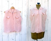 1940s blouse / 40s embroidered shirt / Reve d'Or blouse