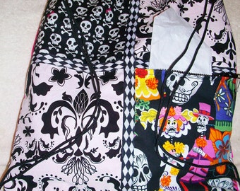 skeleton wedding hot pink ripstop nylon drawstring backpack with front zipper pocket