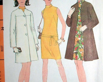 """McCalls Dress Pattern No 9167 UNCUT Vintage 1960s Size 14 Bust 36"""" Sleeveless Dress Stand Up Collar Back Zipper and Coat"""