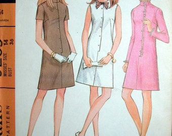 """McCalls Dress Pattern No 9259 UNCUT Vintage 1960s Size 14 Bust 36"""" Sleeveless Long or Short Sleeves Front Button A Line"""