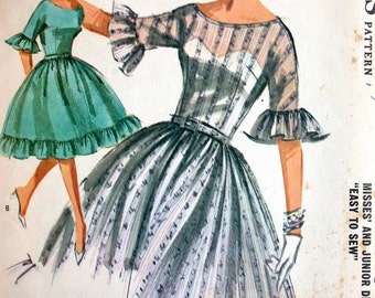 """McCalls Dress Pattern No 6319 UNCUT Vintage 1960s Size 16 Bust 36"""" 3/4 Sleeves Fitted Bodice Full Gathered Skirt Scoop Neck Easy to Sew"""