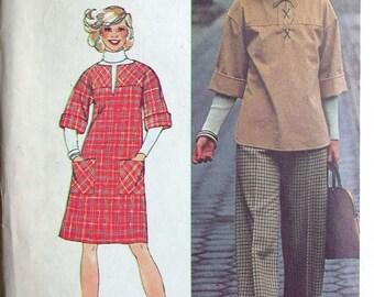 "Simplicity Dress Pattern No 6581 UNCUT Vintage 1970s Size 14 Bust 36"" Short Jumper or Blouse Top Shirt and Pants Back Zipper"