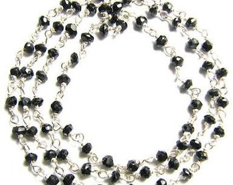 Black Onyx Rosary Chain 12 - 18 Inch Sterling Silver Wire 3.5mm Fine Faceted Semiprecious Gemstone Beads Take 20% Off Jewelry Craft Supplies