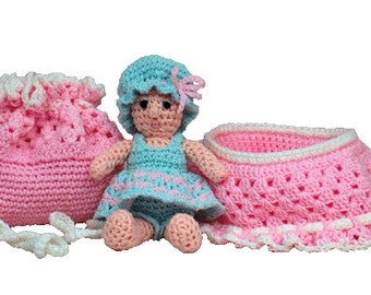 PDF Amigurumi Crochet Pattern - Baby Purse / Bassinet / Cradle  (7325) Td creations
