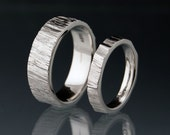 Saw Cut Wedding Bands in Palladium, Set of 2 Rings, Rustic Wedding Rings, unisex Rings, Unique Wedding Ring Set, Wood Grain Texture