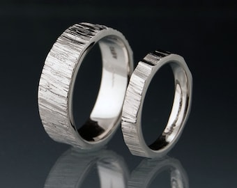 Saw Cut Wedding Bands in Palladium, Set of 2 Rings, Rustic Wedding Rings, unisex Rings, Unique Wedding Ring Set, Wood Grain Texture