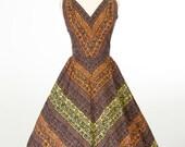 vintage 1950s dress // Autumn Floral Chevron Print Day Dress Lady Alice