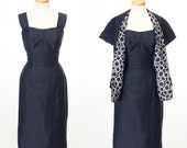 vintage 1950s two piece dress set // CHIC Navy Silk Wiggle Dress Matching Shawl by Dress Town California