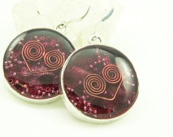 Orgone Energy Earrings - Positive Energy Generator - Dangle Earrings - Red Garnet Gemstone - Artisan Jewelry