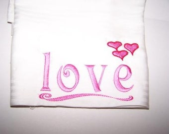 Embroidered Love Hearts Pillowcase Pink Red White by a Southern Hug