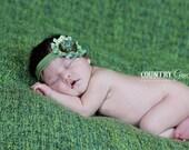 Shabby Chic Headband...Newborn Headband...Baby Girl Headband...Baby Bows...Photo Prop...Shabby Rosette