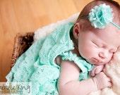 Aqua Puff Headband...Puff Flower Headbands...Newborn ...Baby Girl Headbands...Newborn Headbands...Photography Props...Little Girl Headband