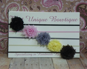 Petite Shabby Chic Rosettes...Set of Five Headbands...Baby Bows...Baby Girl Headbands...Mini Headbands