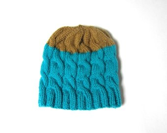 Chunky Hat in Turquoise and Sand Brown hand knitted, Unisex, READY TO SHIP
