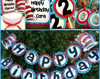 Dr Suess inspired party set Cat in the Hat Happy birthday set
