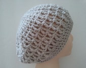 Greige slouchy hat, teen to adult size, pale beige hat, grey slouchy hat, taupe beret, neutral hat