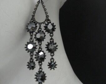 Water fall Crystal Chandelier  Earrings Made with Hematite(Dark Gray) Swarovski Crystal Black Plated