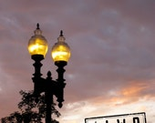 Dusk in Boston, Lit City Lamp Posts, North End, Sunset in Autumn 12x18 Fine Art Travel Photograph