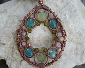 New Jade / Serpentine, Apatite, Rainbow Moonstone Wire Wrapped Copper Necklace - READY TO SHIP