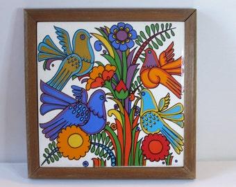 Vintage Villeroy and Boch Acapulco Ceramic Tile Trivet in Wood Frame