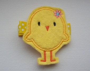 Girls Hair Accessories - Felt Hair Clips - Yellow Felt Embroidered Chick Hair Clippie - Hair Clip Hair Clippie - Easter Yellow Chick Clippie