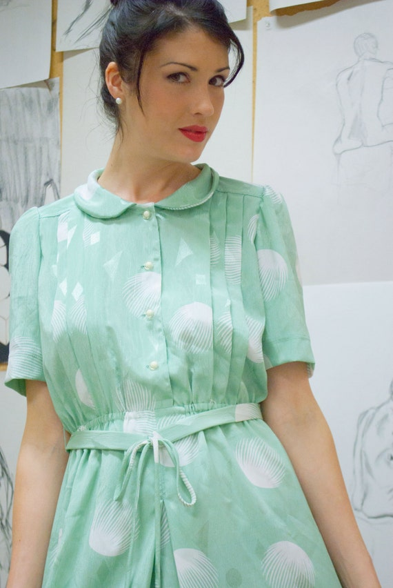 Reserve for BROOKE 80s Opalescent Silky Sage Secretary Dress Small