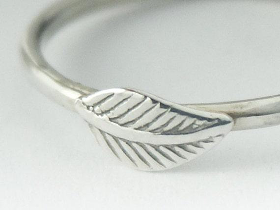 Leaf Ring, Stackable Sterling Silver Magnolia Leaf Ring, Magnolia Leaf Ring Silver, Stack Leaf Ring, Silver Stack Ring, Magnolia Jewelry