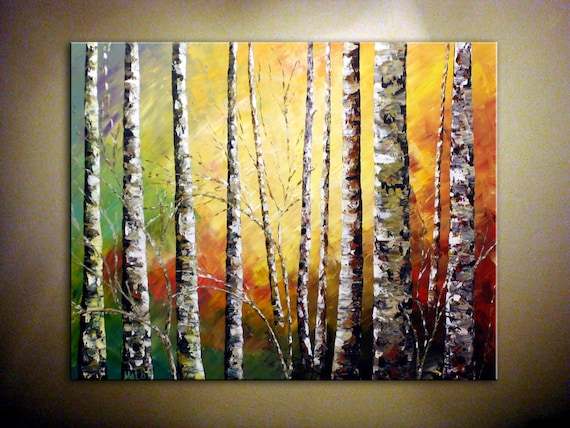 """FREE SHIPPING.....ORIGINAL Abstract Acrylic Landscape Painting.Palette Knife.Impasto.Birch Forest.Birch Tree Painting.30""""...- by Nata S."""