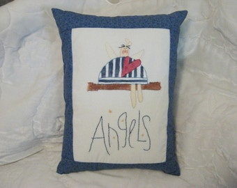 "Pillow Decorative ""Angels"" Embroidered and Hand Painted on Muslin, Dark Blue Border, Home Decor"