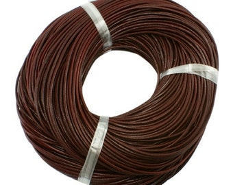 s00872 - 5 Metres Round Cowhide Leather Cord, Leather Jewelry Cord, about 1mm in diameter, colour chocolate