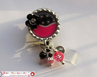 Pink and Black with Hearts and Beads Retractable Badge Reel - Designer Badge Clip - Cute ID Holders - Fun Badge Pulls - Badge Reel Gifts