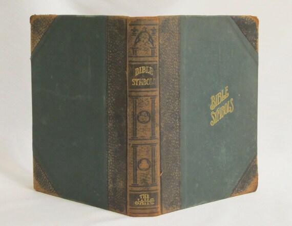 Bible Symbols 1908 John Hertel Co. Black Leather Green Cloth