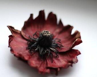 Dark Red Leather Poppy with Golden Glance