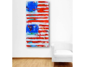 Abstract American Flag Painting - United States America - US ABSTRACT Large Original Painting - Contemporary Home Decor - Made to Order