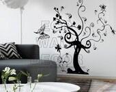 PEEL and STICK Kids Nursery Removable Vinyl Wall Sticker Mural Decal Art - Large Black Magic Swirl Tree